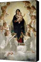 Virgin Mary Painting Canvas Prints - The Virgin with Angels Canvas Print by William-Adolphe Bouguereau