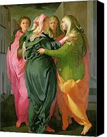 Fresco Canvas Prints - The Visitation Canvas Print by Jacopo Pontormo