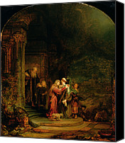 Column Canvas Prints - The Visitation Canvas Print by  Rembrandt Harmensz van Rijn