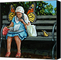 Linda Apple Canvas Prints - The Visiting Angel - fantasy painting Canvas Print by Linda Apple
