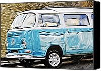 Vw Camper Van Digital Art Canvas Prints - the VW Camper Van Canvas Print by Tilly Williams