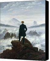 Contemplative Painting Canvas Prints - The Wanderer above the Sea of Fog Canvas Print by Caspar David Friedrich