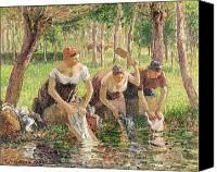 Simple Painting Canvas Prints - The Washerwomen Canvas Print by Camille Pissarro