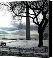 Winter Prints Pyrography Canvas Prints - The Washington Monument - II Canvas Print by Fareeha Khawaja