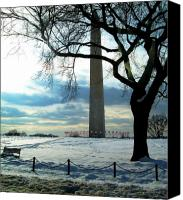 Winter Prints Pyrography Canvas Prints - The Washington Monument - III Canvas Print by Fareeha Khawaja