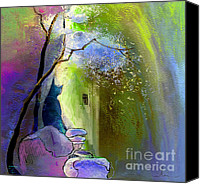 Impressionism Art Mixed Media Canvas Prints - The Watcher Canvas Print by Miki De Goodaboom