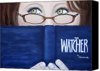 Reading Pastels Canvas Prints - The Watcher Canvas Print by Tracey Hunnewell