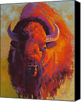 Bison Pastels Canvas Prints - The Watchful One Canvas Print by Christine  Camilleri