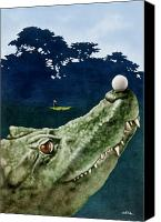 Humor. Painting Canvas Prints - The water hazard... Canvas Print by Will Bullas