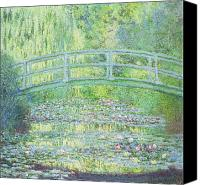 Monet Painting Canvas Prints - The Waterlily Pond with the Japanese Bridge Canvas Print by Claude Monet