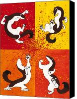 Simple Painting Canvas Prints - The Weasel Dance Canvas Print by Beth Davies