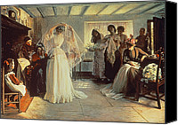 Wedding Preparation Canvas Prints - The Wedding Morning Canvas Print by John Henry Frederick Bacon