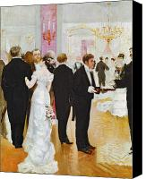 Chandelier Canvas Prints - The Wedding Reception Canvas Print by Jean Beraud