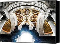 Wren Digital Art Canvas Prints - The West Doorway of St Pauls Cathedral Canvas Print by Steve Taylor