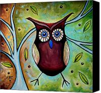 Ancient Greece Painting Canvas Prints - The Whimsical Owl Canvas Print by Elizabeth Robinette Tyndall