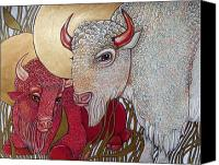 Buffalo Mixed Media Canvas Prints - The White Buffalo and the Red Canvas Print by Lynnette Shelley
