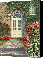 Manor Painting Canvas Prints - The White Door Canvas Print by Richard De Wolfe