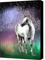 White Horses Canvas Prints - The White Horse Canvas Print by Arline Wagner