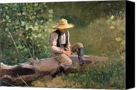 Kid Painting Canvas Prints - The Whittling Boy Canvas Print by Winslow Homer