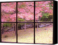 Cabin Window Canvas Prints - The Window of Fall Canvas Print by Janice Bennett
