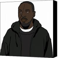 Tv Show Canvas Prints - The Wires Omar Little Canvas Print by Tomas Raul Calvo Sanchez