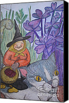 Fantasy Drawings Canvas Prints - The Wise Old Lady on Cat Canvas Print by Koral Garcia