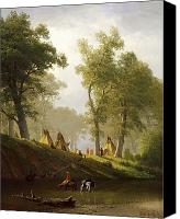 Wolf Painting Canvas Prints - The Wolf River - Kansas Canvas Print by Albert Bierstadt