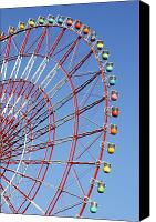 Fun Fair Canvas Prints - The Wonder Wheel At Odaiba Canvas Print by Axiom Photographic