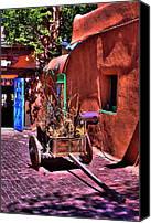 Santa Fe Canvas Prints - The Wooden Cart Canvas Print by David Patterson