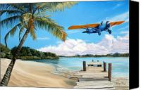 Airplane Painting Canvas Prints - The Woolaroc Canvas Print by Kenneth Young