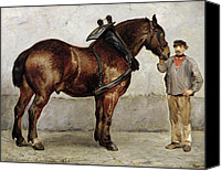Signed Painting Canvas Prints - The Work Horse Canvas Print by Otto Bache