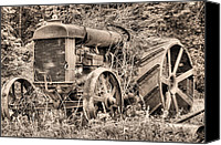 Tractor Wheel Canvas Prints - The Workhorse BW Canvas Print by JC Findley