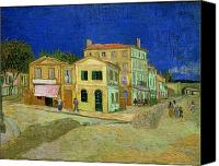 Oil Lamp Canvas Prints - The Yellow House Canvas Print by Vincent Van Gogh