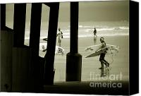Monochrome Canvas Prints - The Young Beach Boys Canvas Print by Susanne Van Hulst