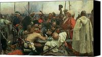 Soldier Painting Canvas Prints - The Zaporozhye Cossacks writing a letter to the Turkish Sultan Canvas Print by Ilya Efimovich Repin