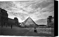 The Louvre Museum Canvas Prints - TheLouvre Blk n Wht Canvas Print by Chuck Kuhn