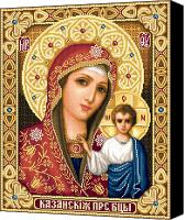 Icon Tapestries - Textiles Canvas Prints - Theotokos of Kazan Canvas Print by Stoyanka Ivanova