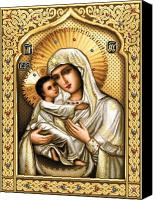 Icon Tapestries - Textiles Canvas Prints - Theotokos of Tenderness Canvas Print by Stoyanka Ivanova