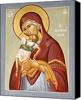 Icon Byzantine Canvas Prints - Theotokos Pelagonitisa Canvas Print by Julia Bridget Hayes