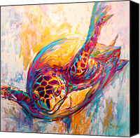 Mike Painting Canvas Prints - Theres More than Just fish in the Sea - Sea Turtle Art Canvas Print by Mike Savlen