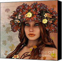 3d Graphic Canvas Prints - They Call Her Autumn Canvas Print by Jutta Maria Pusl