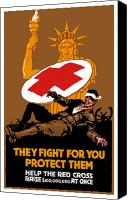 War Effort Canvas Prints - They Fight For You Protect Them Canvas Print by War Is Hell Store
