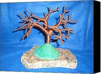Copper Sculpture Canvas Prints - Thick 24 Gauge Copper Wire Tree on Brown and Black Marble or Granite Slab Canvas Print by Serendipity Pastiche