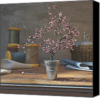 Still Life Canvas Prints - Thimblefull Canvas Print by Cynthia Decker