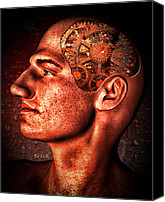 Rusty Digital Art Canvas Prints - Thinking Man Canvas Print by Bob Orsillo