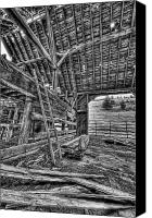 Cow Barn Canvas Prints - This is British Columbia No.33 - Old Okanagon Barn Canvas Print by Paul W Sharpe Aka Wizard of Wonders