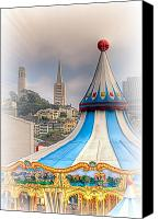 City Scape Digital Art Canvas Prints - This is San Francisco 1F  Four Towers Canvas Print by Paul W Sharpe Aka Wizard of Wonders
