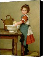 Kid Painting Canvas Prints - This Is the Way We Wash Our Clothes  Canvas Print by George Dunlop Leslie