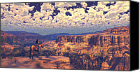 Western Digital Art Canvas Prints - This Tattered Land Canvas Print by Dieter Carlton