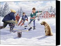 Pond Hockey Canvas Prints - This Time For Sure Canvas Print by Richard De Wolfe